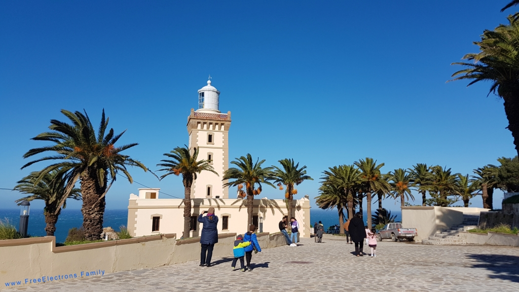 People heading towards the lighthouse surrounded by palm trees under clear blue sky.